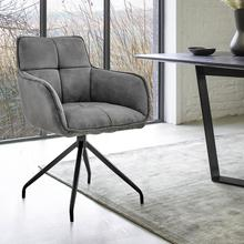 View Product - Noah Dining Room Accent Chair in Charcoal Fabric and Brushed Stainless Steel Finish