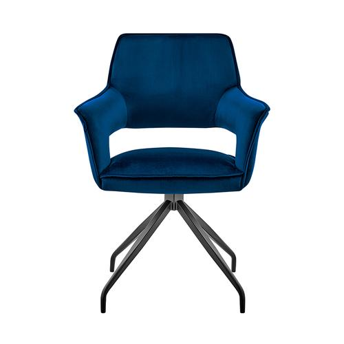 Armen Living - Hadley Dining Room Accent Chair in Blue Velvet with Black Finish