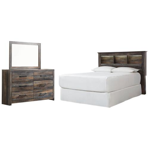 Queen/full Bookcase Headboard With Mirrored Dresser