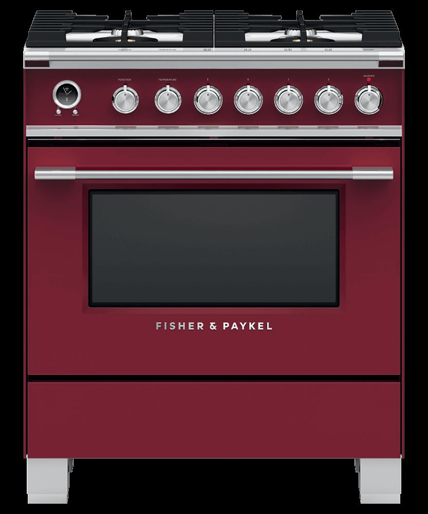 "Fisher & PaykelDual Fuel Range, 30"", 4 Burners, Self-Cleaning"