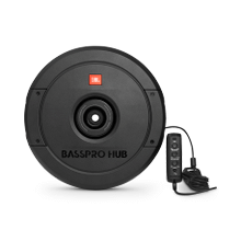"""JBL BassPro Hub 11"""" (279mm) Spare tire subwoofer with built-in 200W RMS amplifier with remote control."""