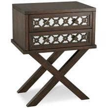 See Details - Mirrored Diamond Filigree X Base Nightstand/Table with Two Drawers #10082-WA