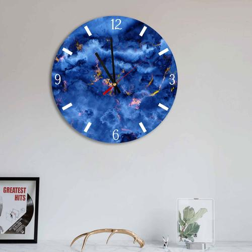 Grako Design - Blue Gold Abstract Clouds Round Square Acrylic Wall Clock