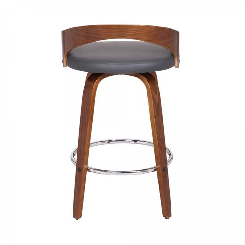 "Sonia 26"" Counter Height Barstool in Walnut Wood Finish with Gray Faux Leather"