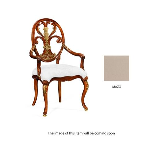 Carving oval back armchair fabric seat (MAZO)