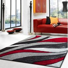 Vibrant Hand Tufted Modern Shag Lola 16 Area Rug by Rug Factory Plus - 5' x 7' / Gray Red