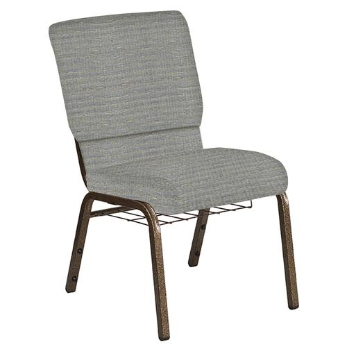 Flash Furniture - 18.5''W Church Chair in Highlands Slate Fabric with Book Rack - Gold Vein Frame