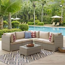 Repose 6 Piece Outdoor Patio Sectional Set in Light Gray Beige
