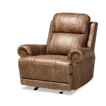See Details - Baxton Studio Buckley Modern and Contemporary Light Brown Faux Leather Upholstered Recliner