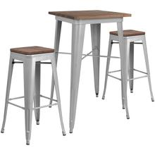 """23.5"""" Square Silver Metal Bar Table Set with Wood Top and 2 Backless Stools"""