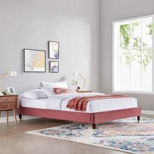 Harlow Queen Performance Velvet Platform Bed Frame in Dusty Rose