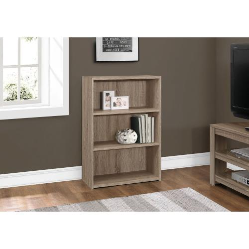 """BOOKCASE - 36""""H / DARK TAUPE WITH 3 SHELVES"""