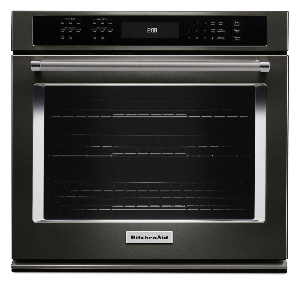"""KitchenAid30"""" Single Wall Oven With Even-Heat™ True Convection - Black Stainless Steel With Printshield™ Finish"""