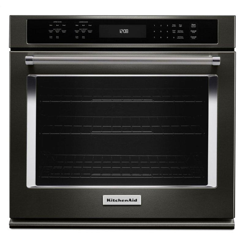 """30"""" Single Wall Oven with Even-Heat™ True Convection - Black Stainless Steel with PrintShield™ Finish"""