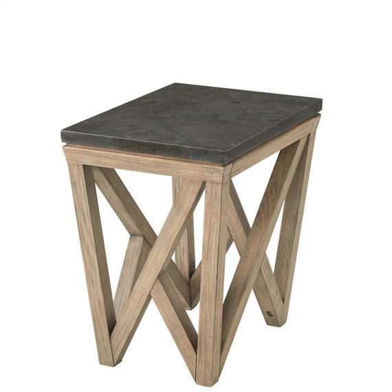 Riverside - Hawkins - Rectangular Chairside Table - Antique Oak/bluestone Finish