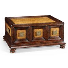 Walnut & brass rectangular coffee table with drawers