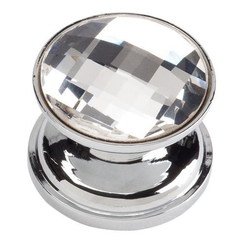 Crystal Large Round Knob 7/8 Inch - Polished Chrome
