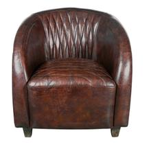 Copper Wrapped Quilted Brown Lthr Chair