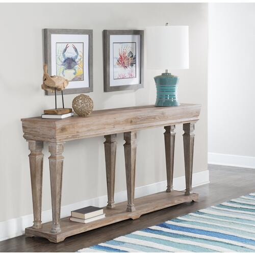 Shelf Base Console Table, Weathered Driftwood Brown
