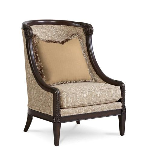 Giovanna Azure Carved Wood Accent Chair