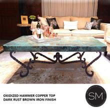 See Details - Top Seller Copper Rectangular Coffee Table - 1211AA - Natural Copper / Rust Dark Brown
