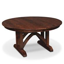 "View Product - B&O Railroad Trestle Bridge Round Single Pedestal Table, 48"" Round / One 12"" Leaf"