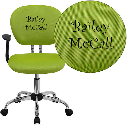 Personalized Mid-Back Apple Green Mesh Swivel Task Chair with Chrome Base and Arms