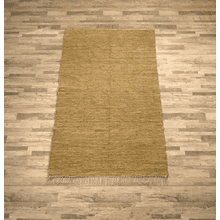 See Details - Tan Leather Chindi 5x8 Rug (Each One Will Vary)