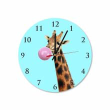 Giraffe With Pink Bubble Gum Round Acrylic Wall Clock