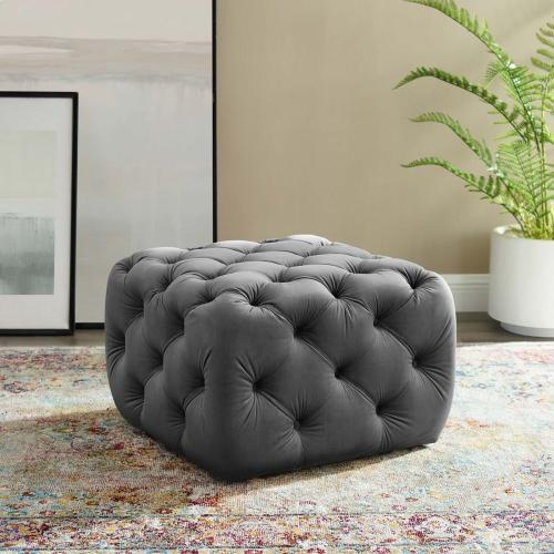 Amour Tufted Button Square Performance Velvet Ottoman in Gray