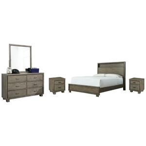 King Bookcase Bed With Mirrored Dresser and 2 Nightstands