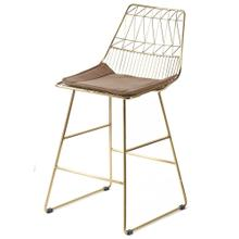 LEIGHTON COUNTER STOOL  Brass Finish on Metal with Brown Velvet Seat