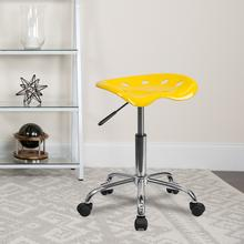 View Product - Vibrant Yellow Tractor Seat and Chrome Stool