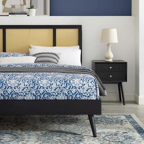 Kelsea Cane and Wood Queen Platform Bed With Splayed Legs in Black