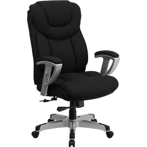 Gallery - HERCULES Series Big & Tall 400 lb. Rated Black Fabric Executive Ergonomic Office Chair with Silver Adjustable Arms