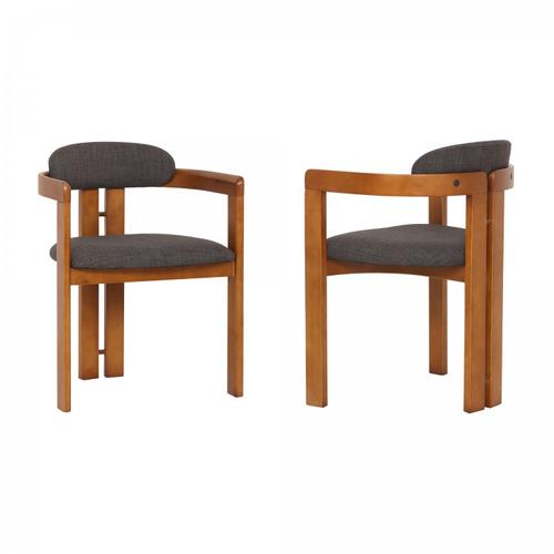 Jazmin Contemporary Dining Chair in Walnut Wood Finish and Charcoal Fabric - Set of 2