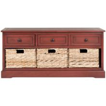 Damien 3 Drawer Storage Bench - Red