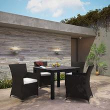 Junction 5 Piece Outdoor Patio Dining Set in Brown White