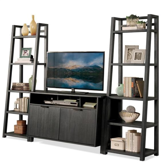Riverside - Perspectives - Leaning Bookcase - Ebonized Acacia Finish