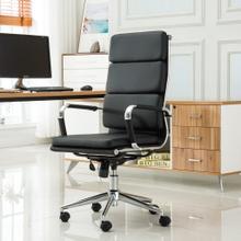 Modica Chromel Contemporary High Back Office Chair, Black