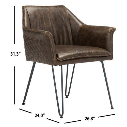 Esme 19 Inch H Mid Century Modern Leather Dining Chair - Dark Brown