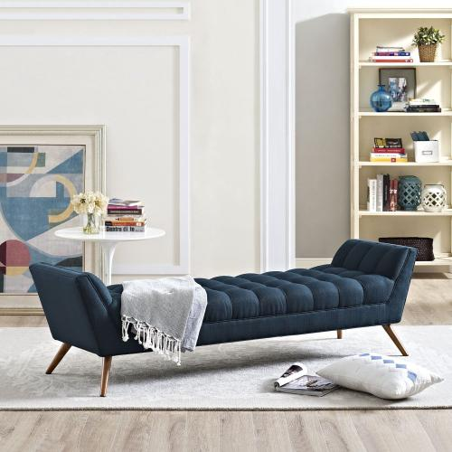 Response Upholstered Fabric Bench in Azure