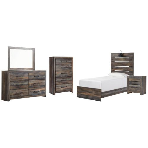 Product Image - Twin Panel Bed With Mirrored Dresser, Chest and Nightstand