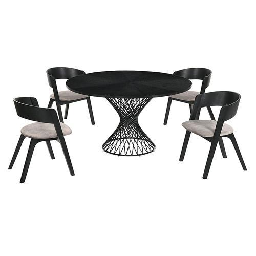 Cirque and Jackie 5 Piece Black Round Dining Set