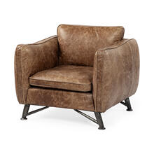 Cobain II Brown Leather Base and Iron Legs Arm Chair