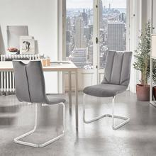 View Product - Pacific Dining Room Accent Chair in Grey Fabric and Brushed Stainless Steel Finish - Set of 2