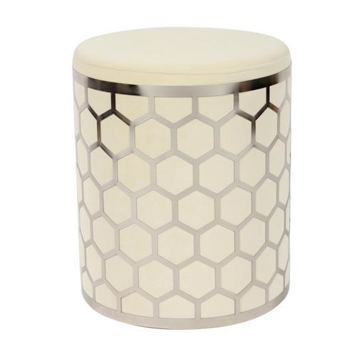 Tov Furniture - Aubrey Cream Velvet Ottoman