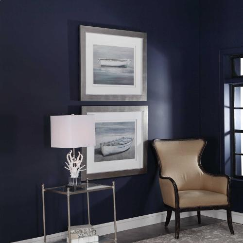 Anchored By The Beach Framed Prints, S/2