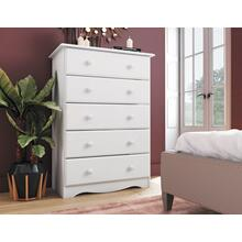 53101 - 100% Solid Wood Five Drawer Chest - White