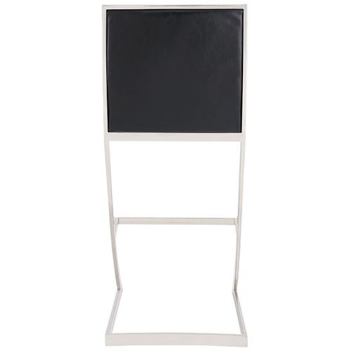 """Marc 26"""" Counter Height Barstool with Brushed Stainless Steel Finish and Vintage Black Faux Leather"""